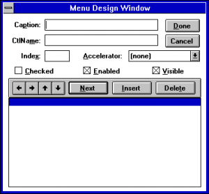 Visual Basic 1 Menu Design Window