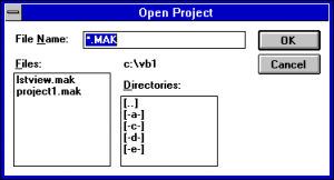Visual Basic 1 File Open Dialog