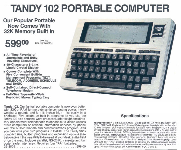 Tandy 102 Portable