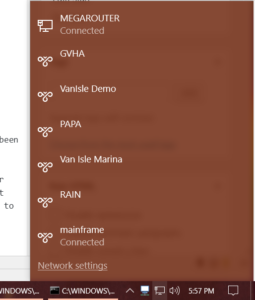 The default Windows 10 Network Foldout