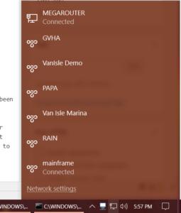 The default Windows 10 Network Foldout